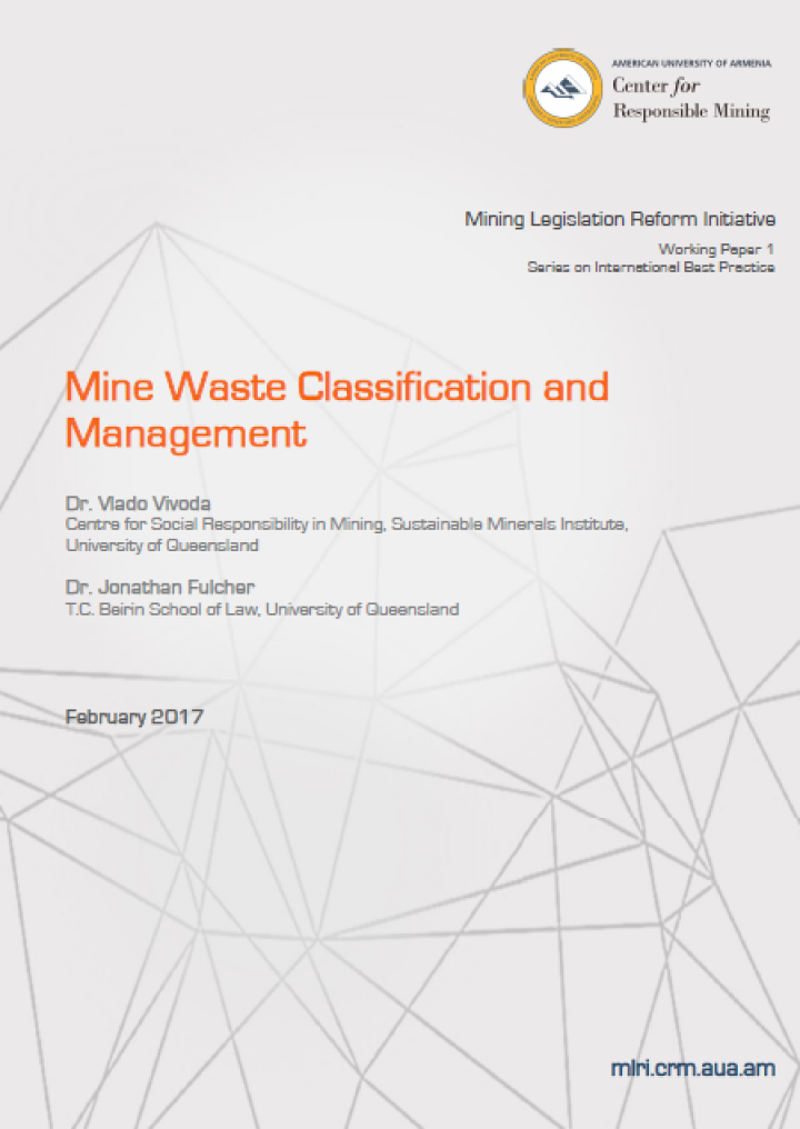 Mine Waste Classification and Management